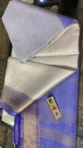 Silver and blue pure tussar tissue silk self woven sarees