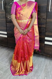 Orange mix pink handloom kuppadam sarees