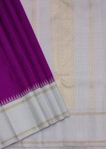 Purple with silver grey pure kanchipuram silk korvai temple border sarees