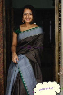 Dark navy blue and silver grey pure silk sarees