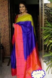 Dark blue and pink pure silk sarees