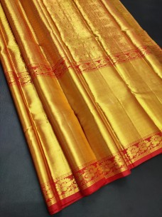 Full Gold with red pure bridal silk sarees