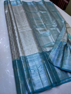 Silver with light blue pure kanchipuram silk sarees