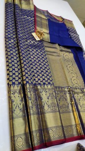 Navy blue handloom kanchipuram silk sarees