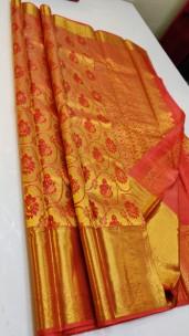 Gold with orange pure silk sarees