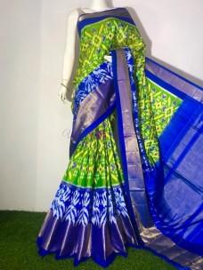 Green and blue ikat silk sarees