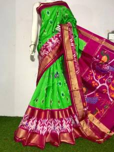 Green ikat silk sarees