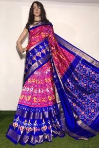 Pink and dark blue ikkat silk sarees