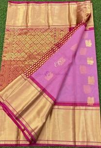 Pink pure kanchi kora silk sarees