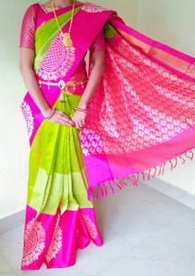 Apple green and pink kuppadam malai silk sarees