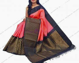 Peach pink with black Kuppadam malai silk sarees