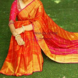 Dark orange with dark pink Uppada checks with jari border