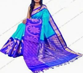 Blue kuppadam malai silk sarees