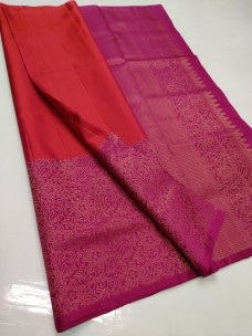Orange and dark pink pure kanchipuram soft silk sarees