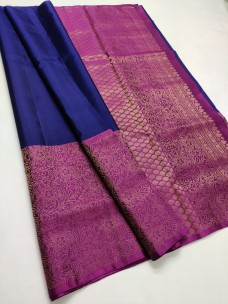Navy blue pure kanchipuram soft silk sarees