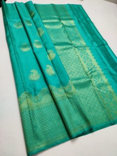 Aqua pure kanchipuram silk sarees