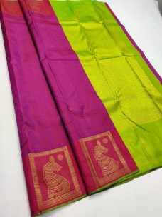 Magenta and green pure silk sarees