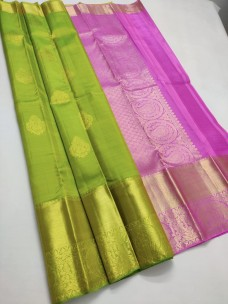 Green and Fuschia pink pure silk sarees