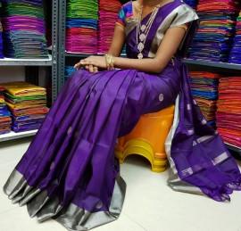 Dark violet uppada sarees with dollar butti