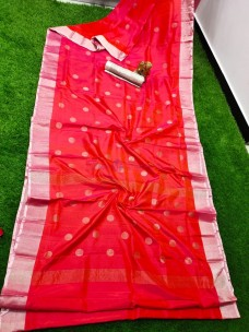 Red uppada sarees with dollar butti