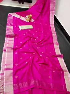 Dark pink uppada sarees with dollar butti