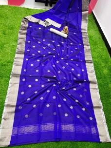Navy blue uppada sarees with dollar butti