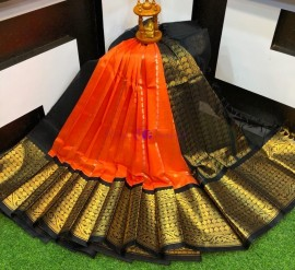 Orange and black kuppadam sarees with kanchi border