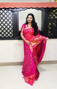 Red mix pink kanchi pure silk sarees
