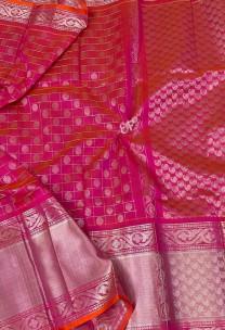Pink and orange mix kanchi kuppadam pattu sarees