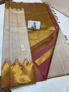 Beige pure kanchipuram silk with temple border
