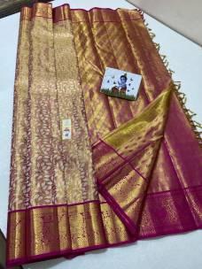 Golden with pink pure kanchipuram Tissue silk sarees
