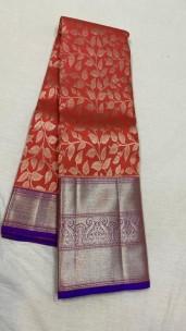 Red with blue pure kanchipuram bridal silk sarees