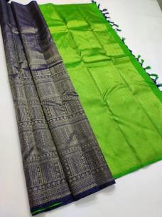 Navy blue and green pure kanchipuram silk sarees