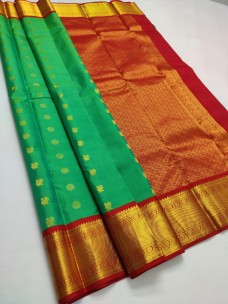 Green With red pure kanchipuram silk sarees