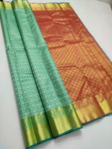 Aqua green with red pure kanchipuram silk sarees