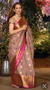 Onion pink pure kanchi kora organza silk sarees