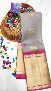 Grey and pink kanchi kora silk sarees