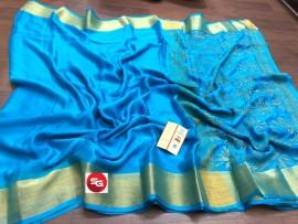 Sky blue pure mysore wrinkle crepe sarees with rich pallu