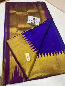 Dark blue pure kanchipuram golden Temple border sarees