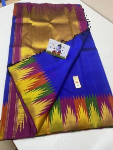 Dark blue with multi color temple border sarees