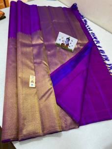 Purple pure kanchipuram rising temple border sarees