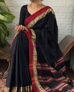 Black with maroon red narayanpet cotton sarees