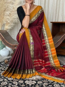 Maroon red with mustard yellow narayanpet cotton sarees