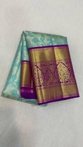 Sky blue pure kanchipuram wedding silk sarees