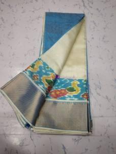 Mangalagiri pattu sarees with ikat border