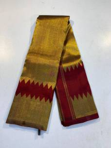 Maroon red pure kanchipuram both side temple border