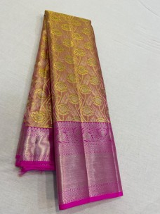 Gold with pink pure kanchipuram silk sarees