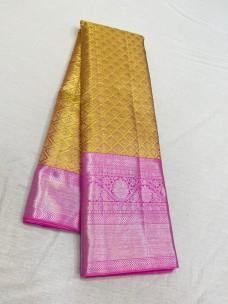 Gold and pink pure kanchipuram wedding silk sarees