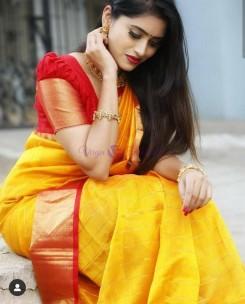 Yellow with red kuppadam checks sarees