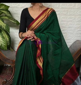 Bottle green rayon blended cotton sarees